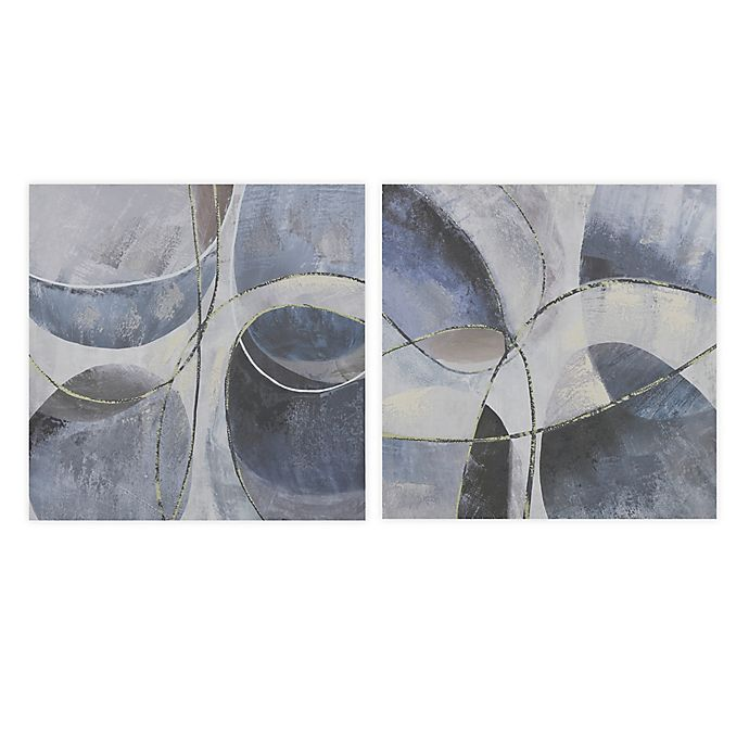 Madison Park Blue Abstract 24 Inch X 24 Inch Wall Art With Embellishment In Blue Grey Set Of 2 Bed Bath Beyond