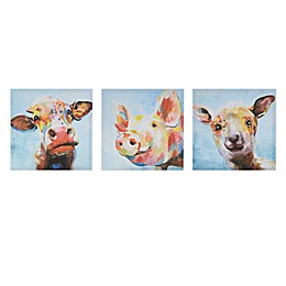 Madison Park Farm Animals Printed 12-Inch x 12-Inch Canvas Wall Art in Multi (Set of 3)