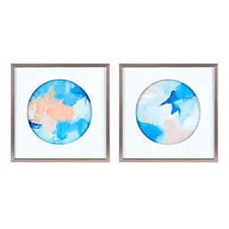 Urban Habitat Abstract Groove Framed and Matted 21.5-Inch x 21.5-Inch Wall Art in Multi (Set of 2)