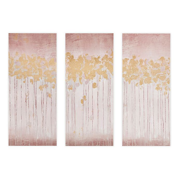 Alternate image 1 for Madison Park Twilight Forest 15-Inch x 35-Inch Canvas Wall Art with Gold Foil in Blush (Set of 3)