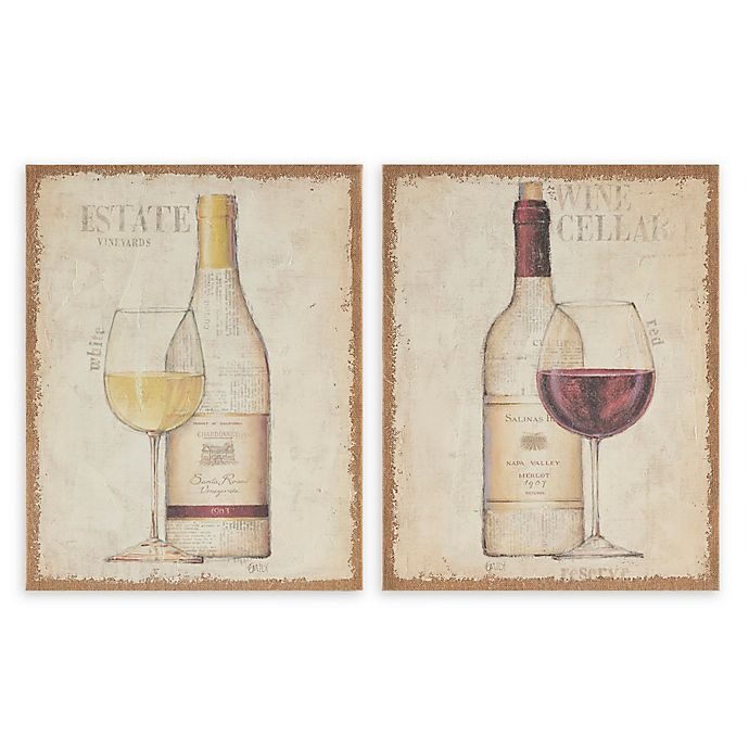 Alternate image 1 for Madison Park White & Red Printed Burlap 16-Inch x 20-Inch Canvas Wall Art in Multi (Set of 2)