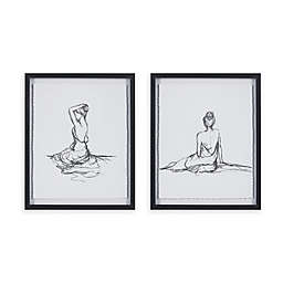 Madison Park Feminine Figures Deckle Edge 17-Inch x 21-Inch Wall Art in Black/White (Set of 2)