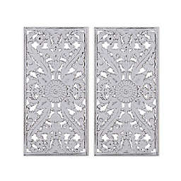 Madison Park Botanical Wood Carved 15.75-Inch x 31.5-Inch Wall Panel in White (Set of 2)