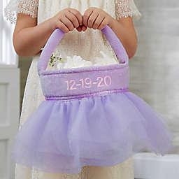 Tutu Personalized Flower Girl Basket in Purple