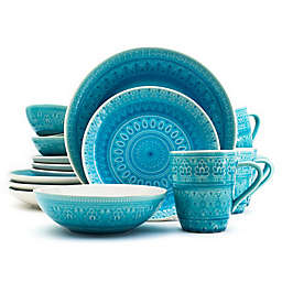 Euro Ceramica Fez Dinnerware Collection in Turquoise