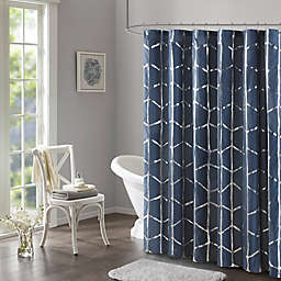Intelligent Design Raina Printed Metallic Shower Curtain in Navy/Silver