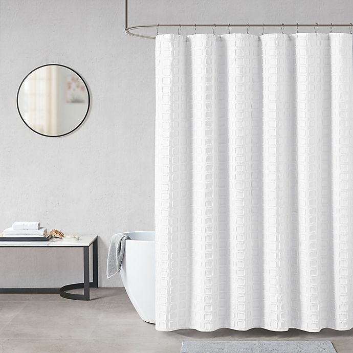 Alternate image 1 for Madison Park Metro Woven Clipped Solid Shower Curtain