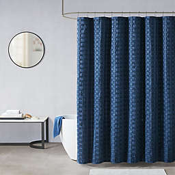 Madison Park Metro Woven Clipped Solid Shower Curtain in Navy