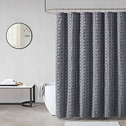 Madison Park Metro Woven Clipped Solid Shower Curtain in Grey