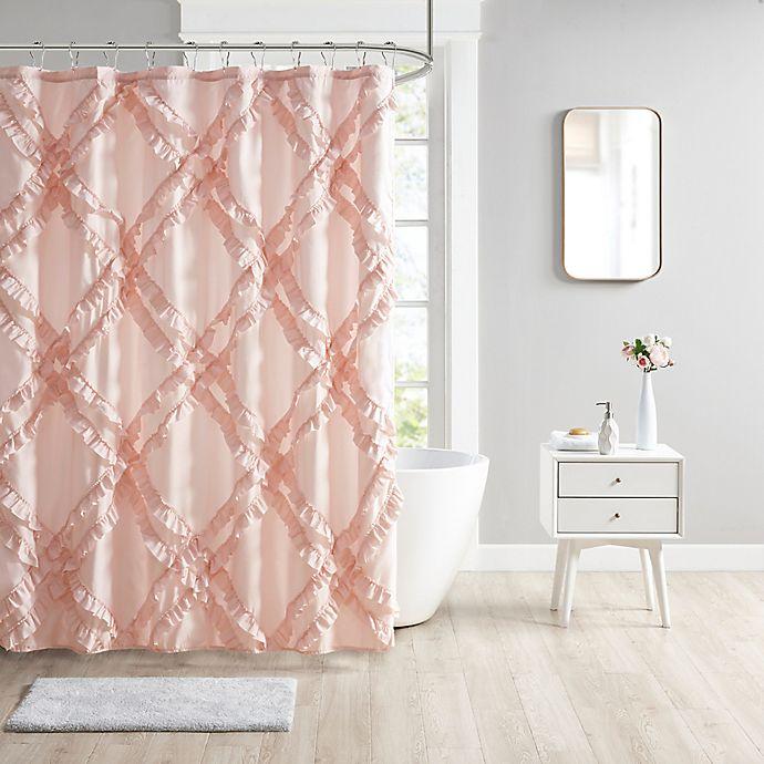 Alternate image 1 for Intelligent Design Kacie Tufted Diamond Ruffle Shower Curtain in Blush