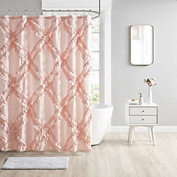 Intelligent Design Kacie Tufted Diamond Ruffle Shower Curtain