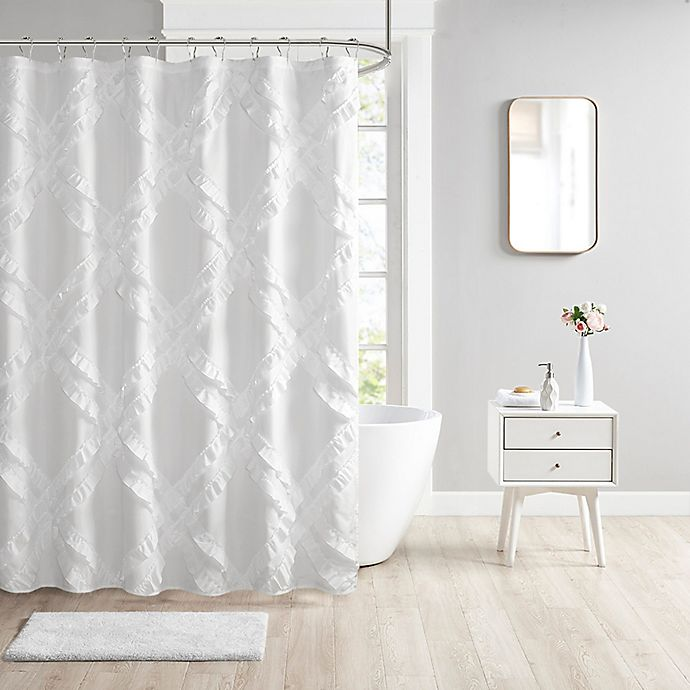 Alternate image 1 for Intelligent Design Kacie Tufted Diamond Ruffle Shower Curtain in White