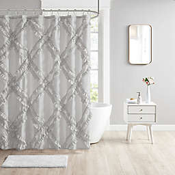 Intelligent Design Kacie Tufted Diamond Ruffle Shower Curtain in Grey
