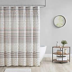 Urban Habitat Calum Cotton Yarn Dye Shower Curtain with Pom Poms in Blush