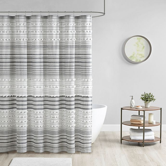 Alternate image 1 for Urban Habitat Calum Cotton Yarn Dye Shower Curtain with Pom Poms in Grey