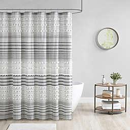Urban Habitat Calum Cotton Yarn Dye Shower Curtain with Pom Poms in Grey