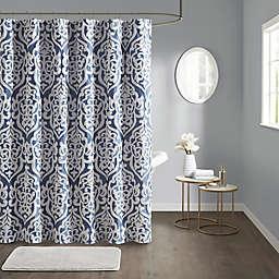 Madison Park Odette Jacquard Shower Curtain in Navy