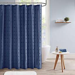 Urban Habitat Brooklyn Cotton Jacquard Pom Pom Shower Curtain in Indigo Blue