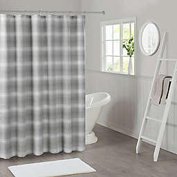 Madison Park Sade Ombre Waffle Weave Shower Curtain in Grey