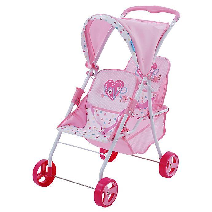 Heart Pram Doll Stroller: Hauk Love Heart Twin Baby Doll Canopy Stroller