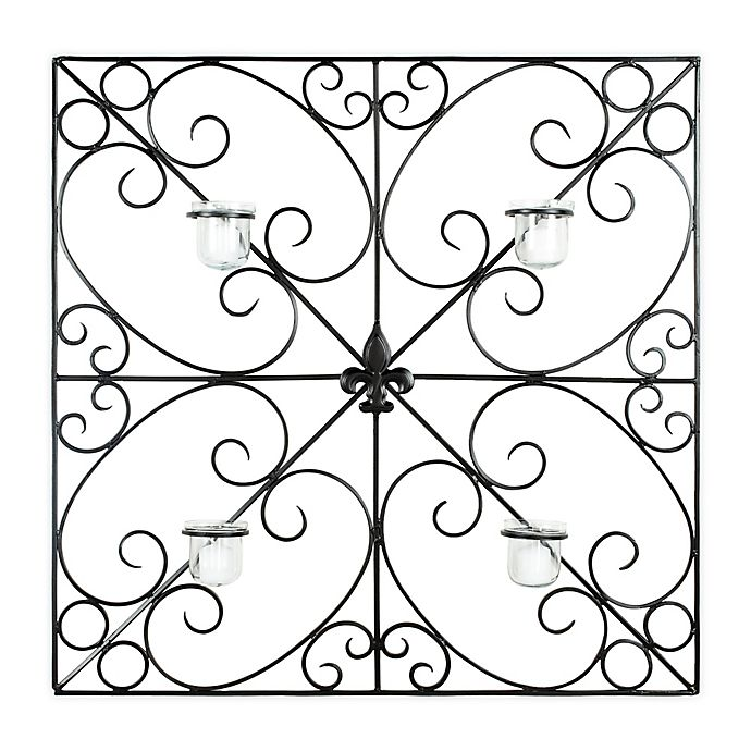 Alternate image 1 for Safavieh Votive 4-Candle Fleur-de-Lis Scrollwork Wall Sconce in Black