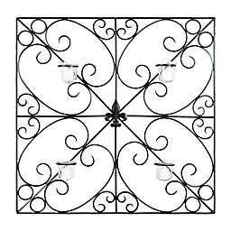 Safavieh Votive 4-Candle Fleur-de-Lis Scrollwork Wall Sconce in Black