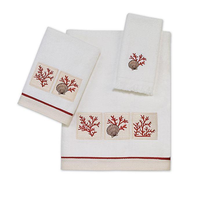 Alternate image 1 for Avanti Cayman Bath Towel in White/Coral