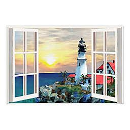 Sunset Lighthouse Window 20x30 Canvas Wall Art