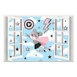 Superhero Girl Window 20x30 Canvas Wall Art