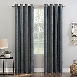 Sun Zero® Kline Burlap Weave Thermal Extreme Total Blackout Grommet Window Curtain Panel