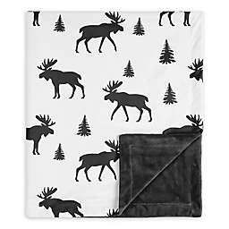 Sweet Jojo Designs Rustic Patch Moose Swaddle Blanket in Black/White