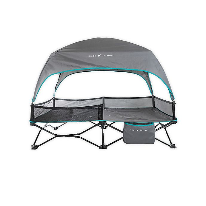 Alternate image 1 for Baby Delight® Go With Me Bungalow Portable Travel Cot in Grey