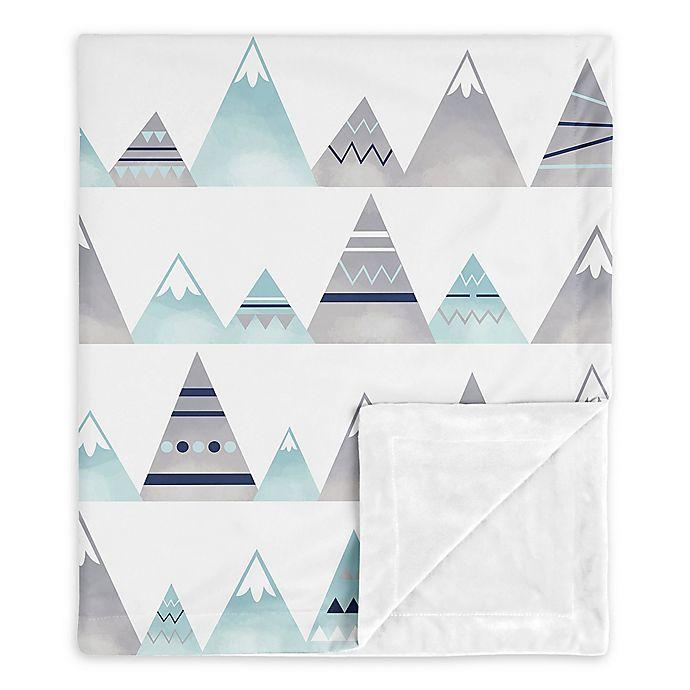 Alternate image 1 for Sweet Jojo Designs Mountains Baby Blanket in Grey/Aqua