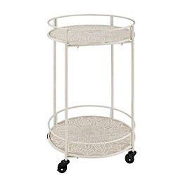 Patton Medallion 2-Tier Rolling Cart in White