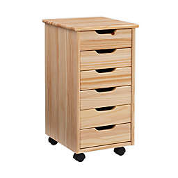 Laurel 6-Drawer Rolling Storage Cart in Natural