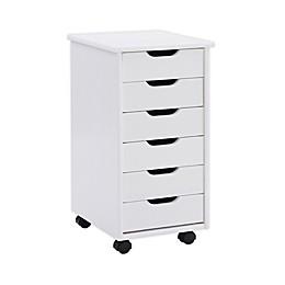 Linon Home Laurel 6-Drawer Rolling Storage Cart
