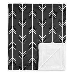 Sweet Jojo Designs Rustic Patch Arrow Swaddle Blanket in Black/White