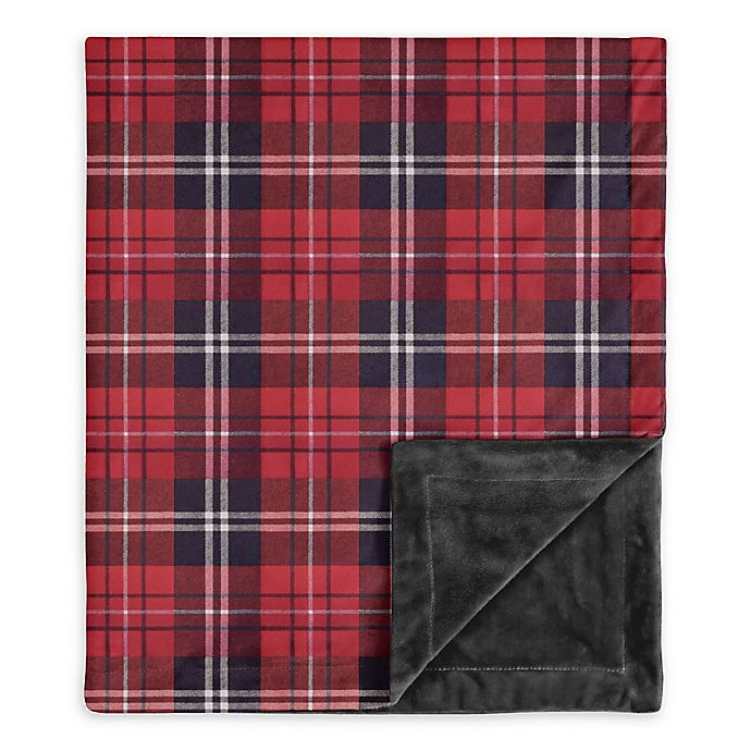 Alternate image 1 for Sweet Jojo Designs Rustic Patch Plaid Swaddle Blanket in Red/Black