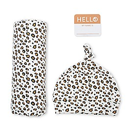 Lulujo Newborn 2-Piece Hello World Leopard Hat and Swaddle Set in Beige