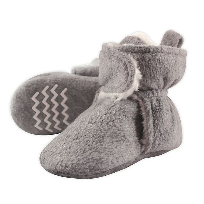 Alternate image 1 for Hudson Baby Size 0-6M Sherpa Lined Scooties in Heather Grey