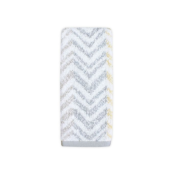 Alternate image 1 for Colordrift Chevron Mirage Fingertip Towel in Yellow
