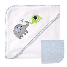 Luvable Friends® Infant 2-Piece Elephant Hooded Towel and Washcloth Set in Blue