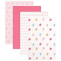 Luvable Friends® 4-Pack Flannel Birdies Receiving Blankets in Pink