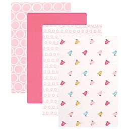 Luvable Friends® 4-Pack Flannel Birdies Receiving Blankets in Pink