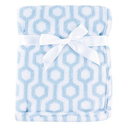Luvable Friends® Hexagon Coral Fleece Blanket in Blue