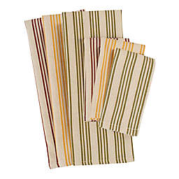 Heavyweight Harvest 6-Pack Striped Dish Towels and Dish Cloths in Spice