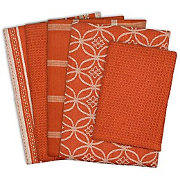 Design Imports 5-Piece Patterned Kitchen Towel and Dish Cloth Set in Spice
