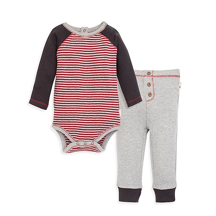 Alternate image 1 for Burt's Bees Baby® Organic Cotton Classic Stripe Bodysuit and Pant Set