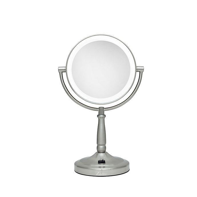 Zadro 174 10x 1x Cordless Led Lighted Vanity Mirror In Satin