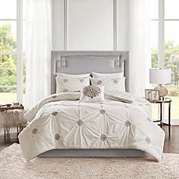 Madison Park Malia 4-Piece Reversible Embroidered Duvet Cover Set